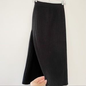 Oak + Fort ribbed knit side slit midi skirt